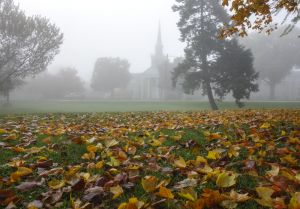 Foggy church Davenport by Jock